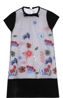 Мини-платье прямого кроя с вышивкой Simonetta