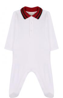 Хлопковая пижама с контрастным воротником Gucci