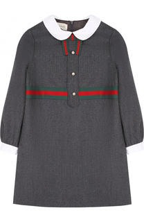 Платье из смеси шерсти и кашемира с контрастной отделкой Gucci
