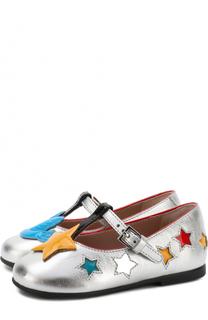 Металлизированные туфли на ремешке с аппликациями Gucci