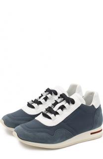 Текстильные кроссовки с отделкой из замши и кожи Loro Piana
