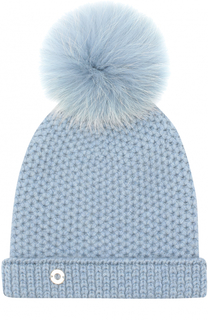 Кашемировая шапка фактурной вязки с меховым помпоном Loro Piana