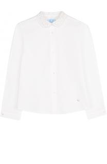 Хлопковая блуза с кружевным воротником Lanvin