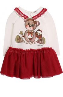 Мини-платье с принтом и оборками Monnalisa