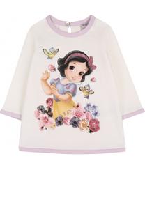 Мини-платье с принтом и стразами Monnalisa