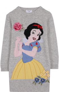 Вязаное мини-платье с принтом и аппликациями Monnalisa