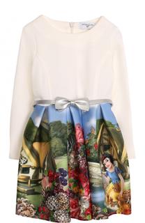 Платье с принтом и металлизированным поясом Monnalisa