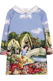 Мини-платье с принтом и контрастным воротником Monnalisa