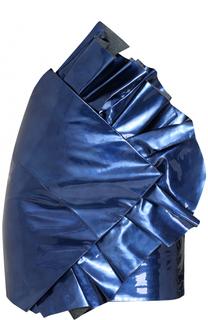 Кожаная мини-юбка с оборками Saint Laurent