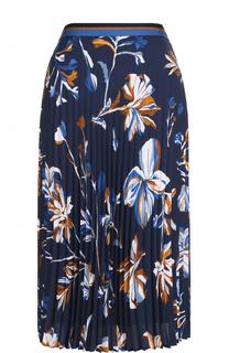 Шелковая плиссированная юбка с принтом BOSS