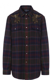 Хлопковая блуза прямого кроя в клетку Polo Ralph Lauren