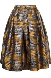 Жаккардовая юбка-миди с широким поясом sara roka