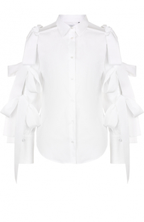 Приталенная хлопковая блуза с бантами на рукавах sara roka