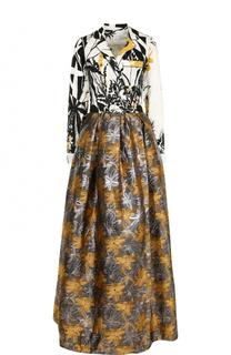 Приталенное платье-макси с принтом sara roka