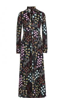Приталенное платье-макси с принтом и воротником аскот Valentino