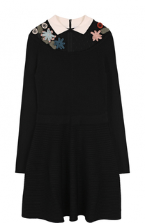 Вязаное мини-платье с длинным рукавом REDVALENTINO
