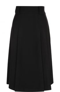 Однотонная шерстяная юбка-миди с поясом REDVALENTINO