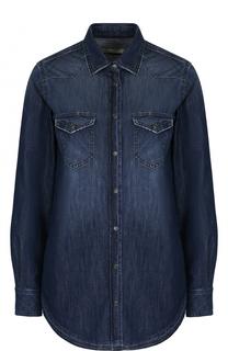 Джинсовая блуза прямого кроя с потертостями Two Women In The World
