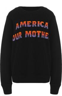 Кашемировый пуловер свободного кроя с надписью The Elder Statesman