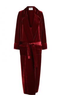 Бархатное пальто с пижамном стиле с поясом Racil
