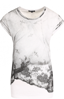 Хлопковая футболка с круглым вырезом и принтом Ann Demeulemeester