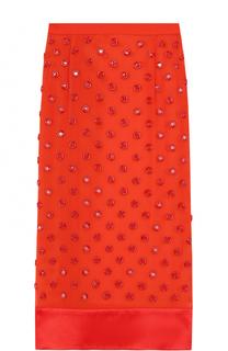 Полупрозрачная шелковая юбка-карандаш с оборкой Givenchy
