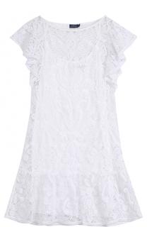 Однотонное кружевное мини-платье Polo Ralph Lauren
