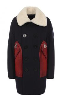 Двубортное пальто свободного кроя из смеси шерсти и кашемира Dsquared2
