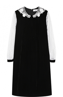Бархатное мини-платье с кружевными рукавами Blugirl