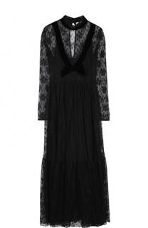 Приталенное кружевное платье-макси Blugirl