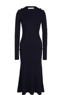 Приталенное вязаное платье-миди с длинным рукавом Victoria Beckham