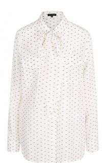 Шелковая блуза с принтом и воротником аскот Escada