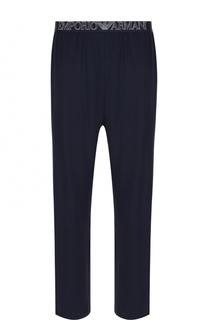 Домашние брюки прямого кроя с поясом на резинке Emporio Armani