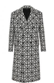 Двубортное пальто из смеси шерсти и шелка Versace