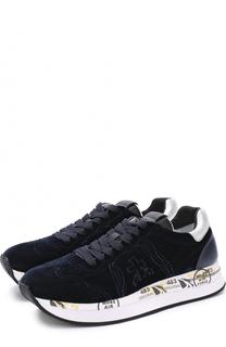 Бархатные кроссовки Conny на шнуровке Premiata