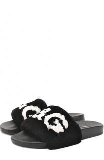 Шлепанцы с отделкой из меха кролика Dolce & Gabbana
