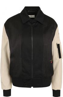 Куртка на молнии с контрастными рукавами Saint Laurent