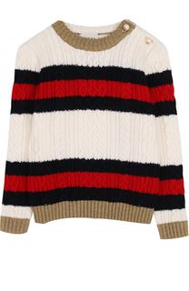 Шерстяной свитер фактурной вязки с контрастной отделкой Gucci