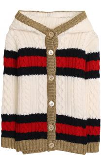 Шерстяной кардиган фактурной вязки с капюшоном Gucci
