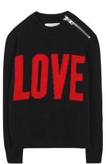Свитер из шерсти и кашемира с принтом и декоративной молнией Givenchy