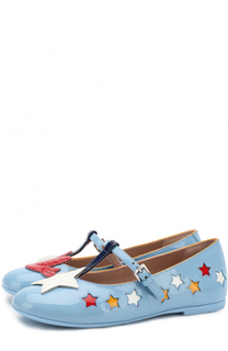 Лаковые туфли на ремешке с аппликациями Gucci