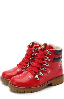 Кожаные ботинки с вышивками и молнией Gucci