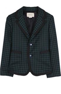 Однобортный пиджак из шерсти в клетку Gucci