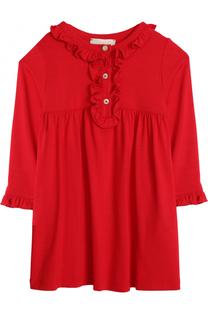 Платье из вискозы с оборками Gucci