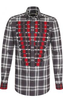 Хлопковая рубашка в клетку с контрастной отделкой Dolce & Gabbana