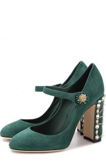 Замшевые туфли Vally на декорированном каблуке Dolce & Gabbana