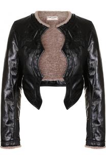 Кожаная куртка с подкладкой из овчины Saint Laurent