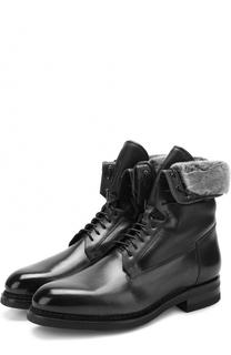 Высокие кожаные ботинки на шнуровке с внутренней меховой отделкой Santoni