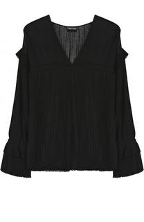 Шелковая плиссированная блуза с V-образным вырезом Tom Ford