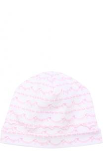 Хлопковая шапка с принтом и фигурной отделкой Kissy Kissy